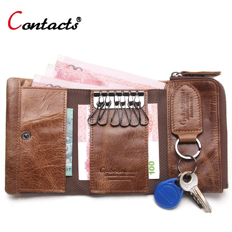 Контакта Для мужчин бумажник чехол для ключей Key Holder бумажник портмоне Пояса из натуральной кожи ключница Ключи органайзер Bag небольшой пор...