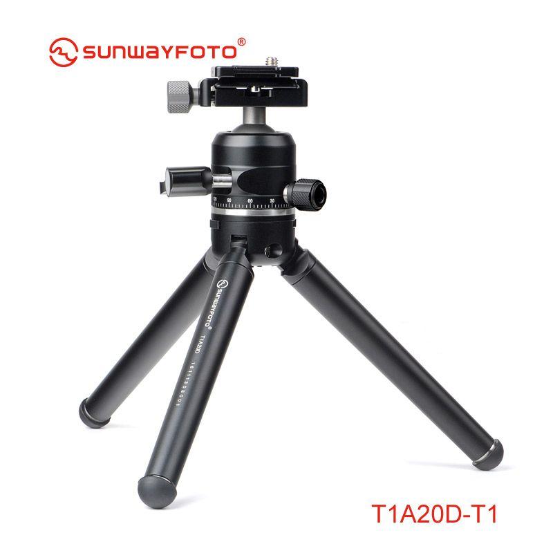 SUNWAYFOTO T1A20D-T Professionnel Mini Trépied pour Support De Caméra Par Movil Tripodes Dslr & Accessoires de Téléphone avec Rotule et Rapide