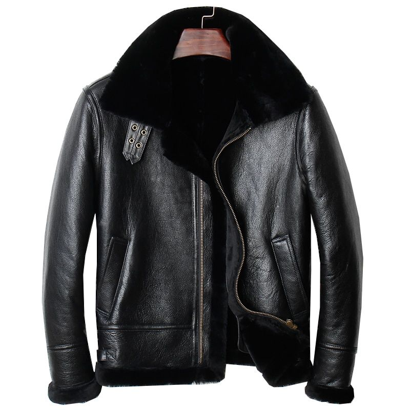 HARLEY DAMSON Black Men Genuine B3 Bomber Pilot Shearling Coat Plus Size 4XL Russian Winter Thick Short Aviator Leather Jacket
