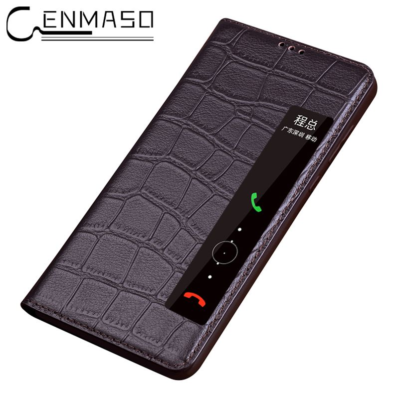 Fashion Genuine Leather Case for Huawei P20 pro Flip Cover sleep wake up capa for Huawei P20 pro Smart view touch flip case