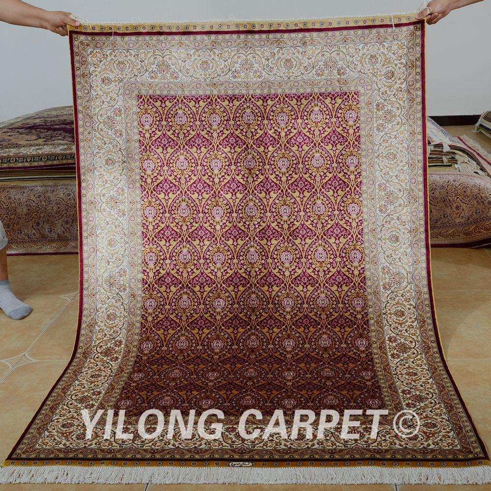 Yilong 4'x6' Traditional handmade carpet red lantern design vantage antique silk area rug (0697)
