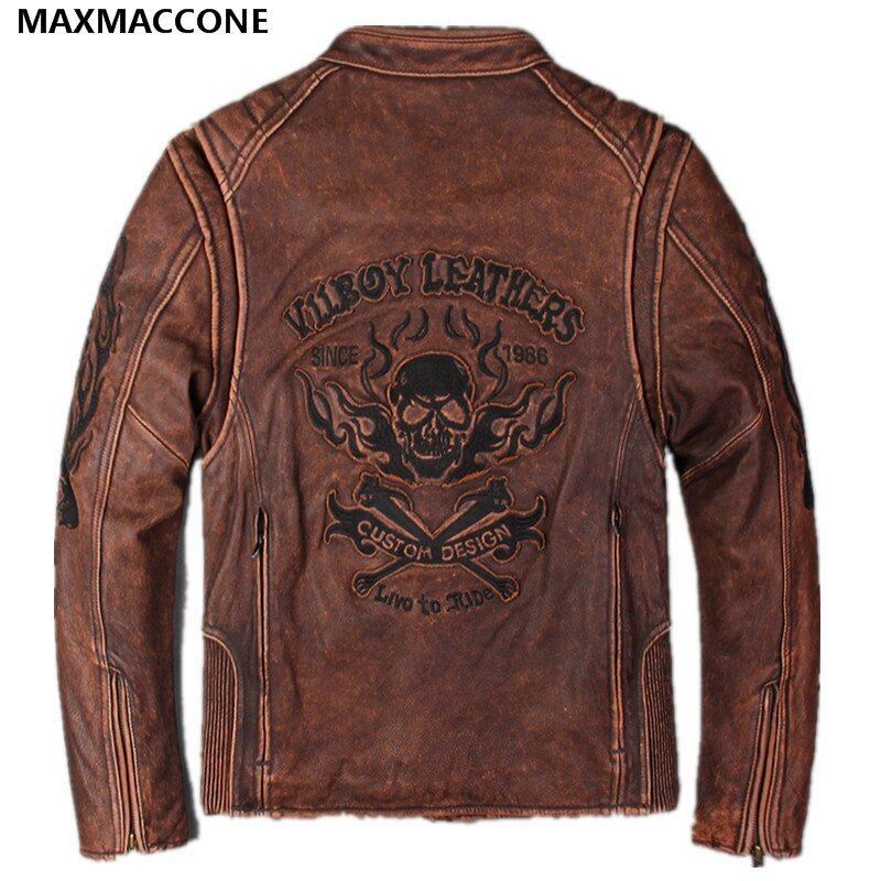 2019 Vintage Braun Schädel Muster Leder Motorrad Jacke Echte Dicke Rindsleder Slim Fit Leder Biker Mantel XXXL FREIES VERSCHIFFEN