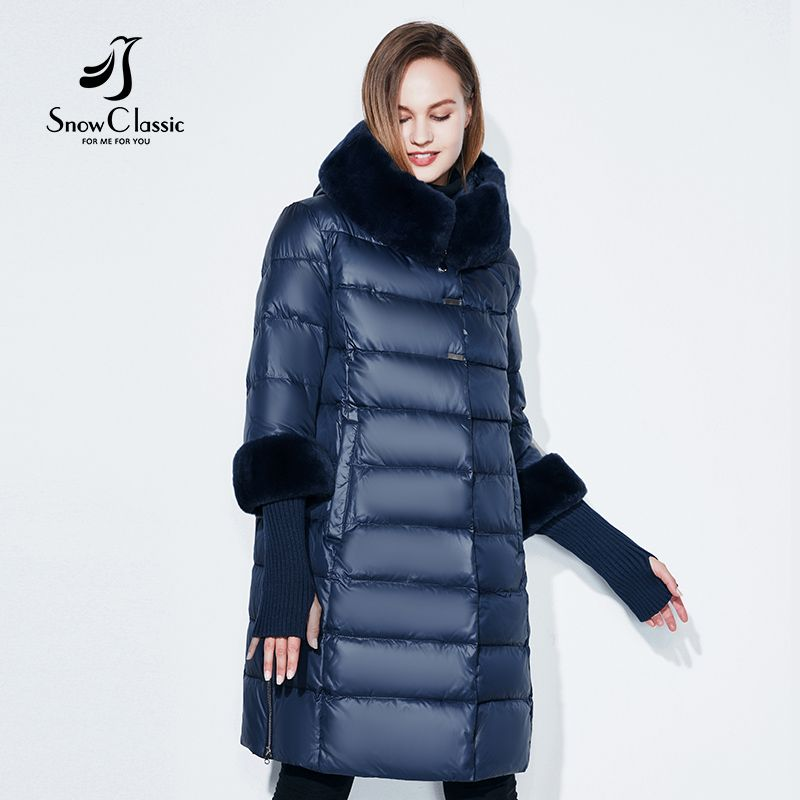 Snowclassic 2018 jacket women camperas mujer abrigo <font><b>invierno</b></font> coat women park plus size 5XL Fur collar hat cuffs thick Europe
