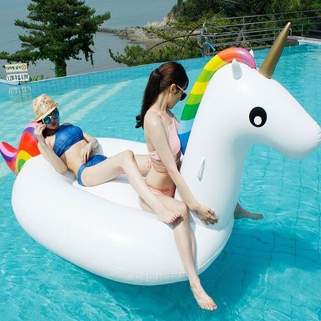 Hot Sell 200 CM Unicorn Swimming Float Inflatable Unicorn Swimming Float Unicorn Pool Float Tube Raft Kid Swimming Ring