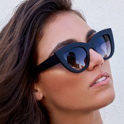 2018 Nouveau Femmes Cat Eye lunettes de Soleil noir Mat Marque Designer Cateye lunettes de Soleil Pour Femme décision lunettes UV400
