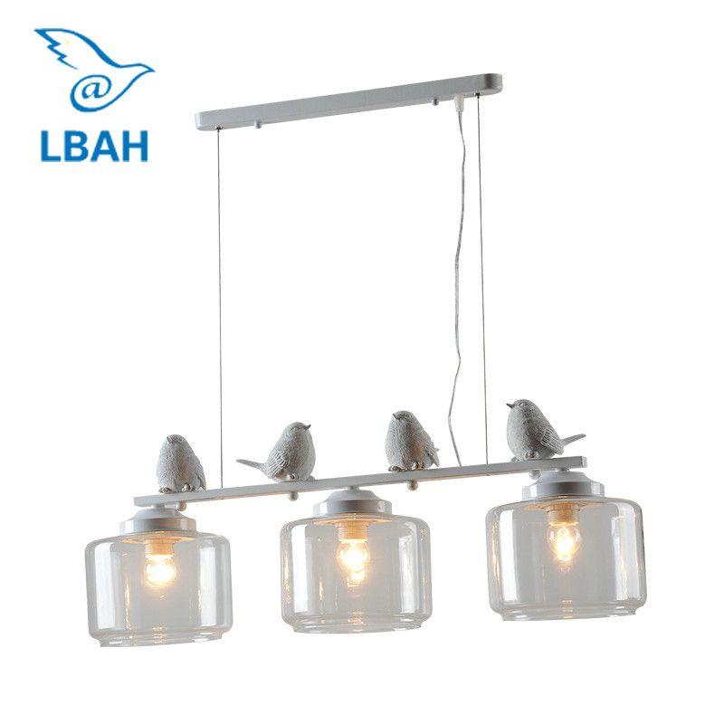 LEDream 3 head hotel bar E27 90-260V Modern resin Bird Iron Kitchen light fixture Hanging lamp with Glass Lampshades decoration