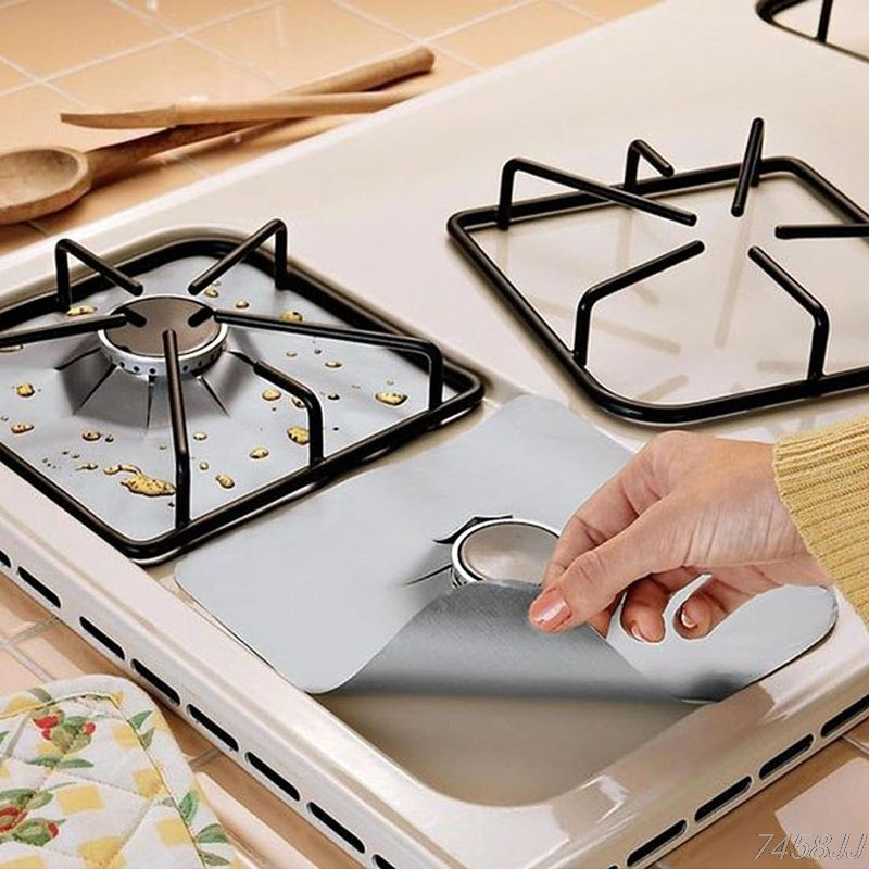 Kitchen Dining & bar 4pcs/set Gas Stove Cooker Protectors Cover/Liner Clean Mat Pad Protector Reusable Kitchen Accessories