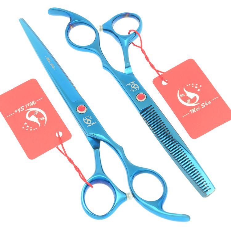 7.0 pouces grand professionnel coiffure coupe ciseaux 6.5 pouces amincissement ciseaux Salon barbiers JP440C bleu cheveux Tesouras HA0364