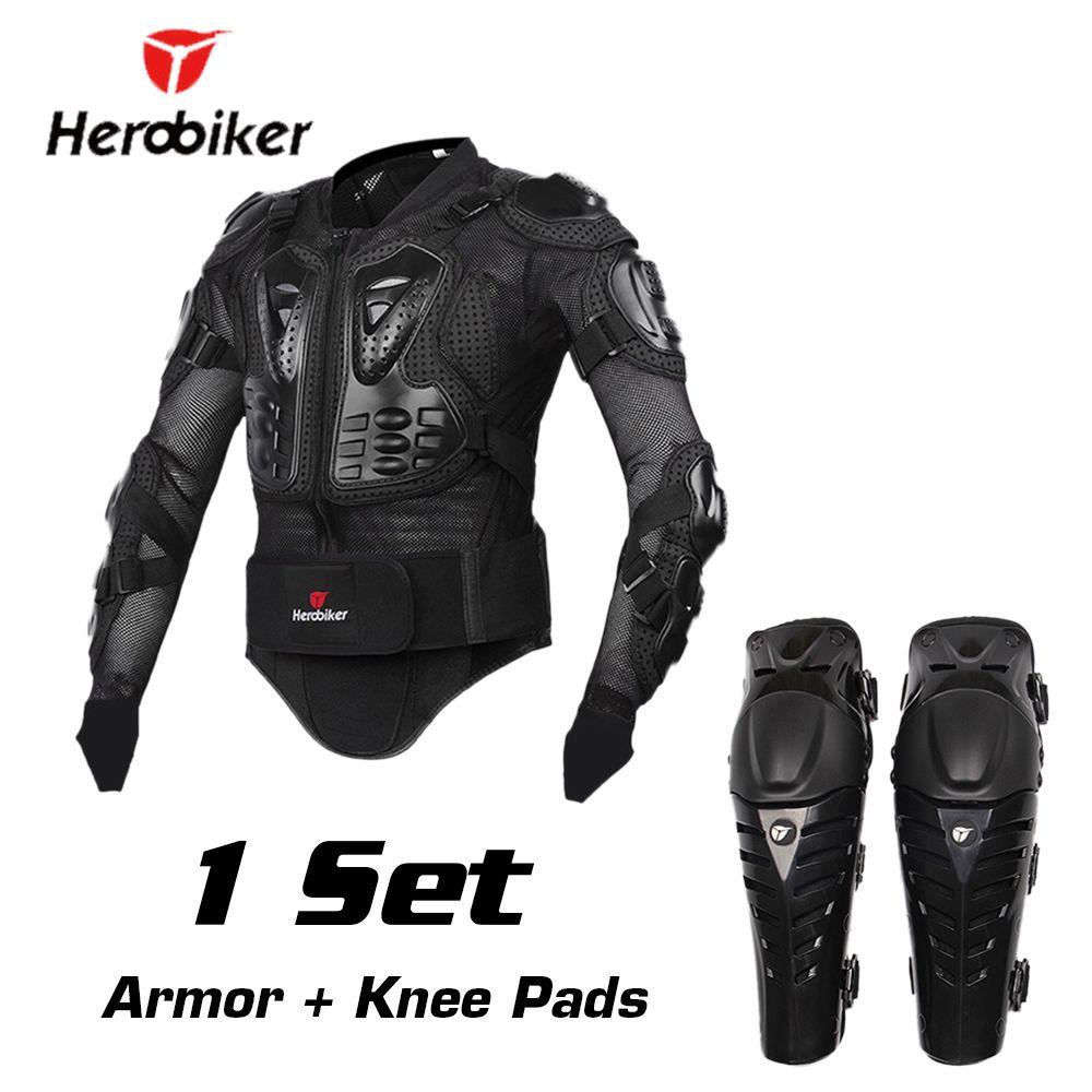 HEROBIKER Motorcycle Protection Moto Armor Motocross Protective Gear Motocross Armor Motorcycle Jacekt Armor with Moto Knees Pad