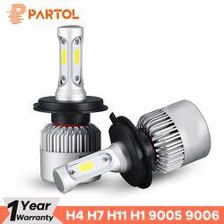 Partol S2 H4 H7 H11 H1 Car LED Headlight Bulbs 72W LED H7 9005 9006 H3 9012 H13 5202 COB Automobile Headlamp 6500K 12V 24V White