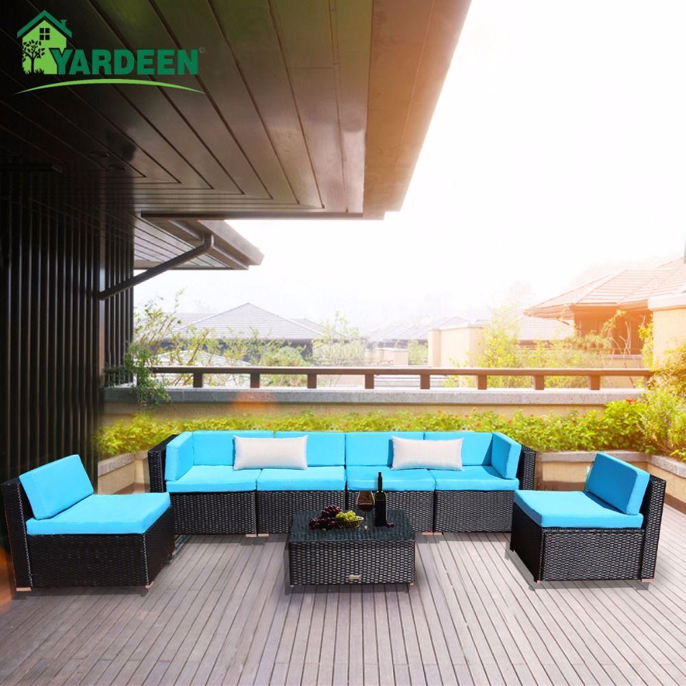 Yardeen 7 Pieces Patio PE Rattan Garden Sofa Set Backyard Furniture Kit Indoor and Outdoor With 2 Bolster Pillows and Tea Table