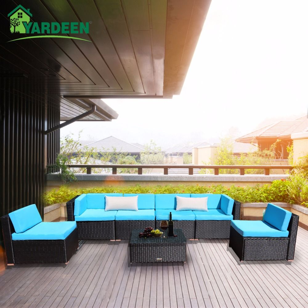 Yardeen 7 Stück Patio PE Rattan Garten Sofa Set Hinterhof Möbel Kit Innen und Außen Mit 2 Bolster Kissen und tee Tisch