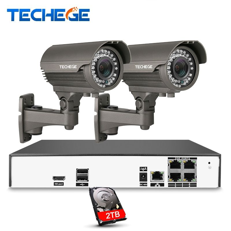 Techege 4CH Video System H.265 4K PoE NVR 2048*1536 2.8-12mm manual lens 4MP IP Camera Night Vision POE System CCTV System