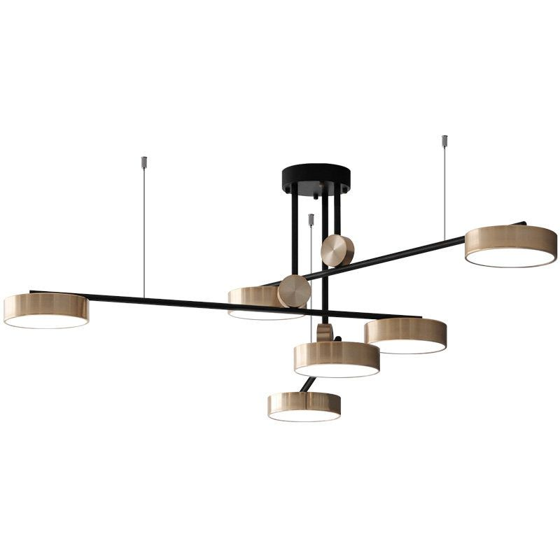 Post Modern Light luxury Living room Nordic Creative Hotel Decoration Gold Rotate 6 Heads Bedroom dining room LED Droplight