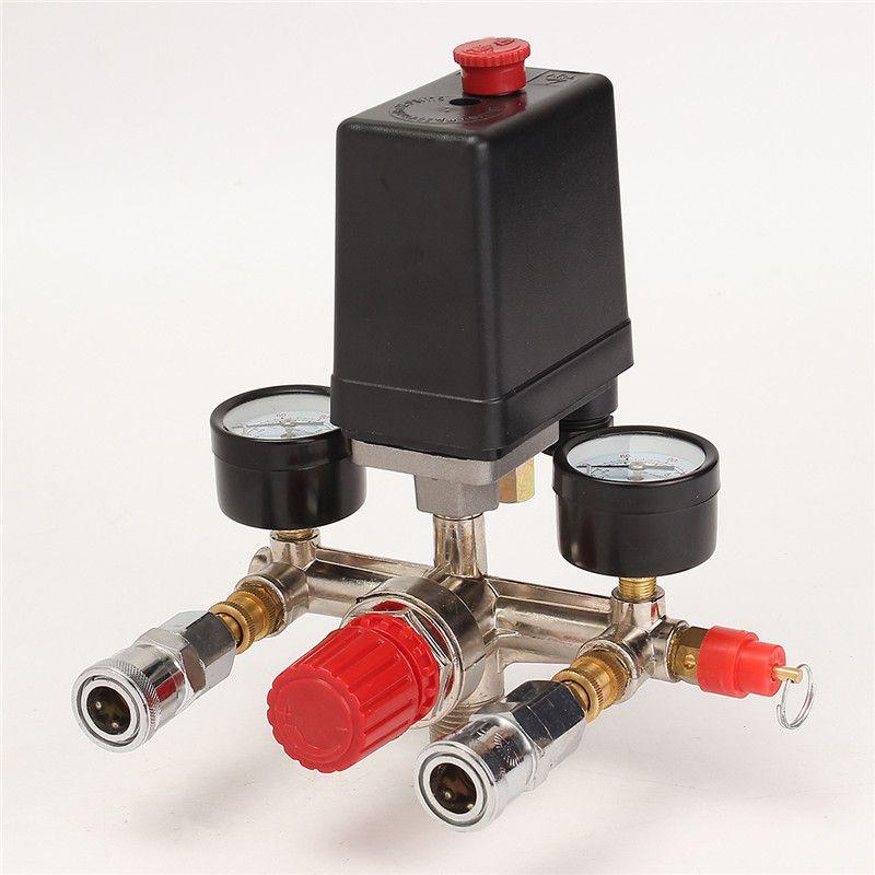Air Compressor Pressure Valve Switch Manifold Relief Regulator Gauges 90~120 PSI 240V 17x15.5x19cm High Quality