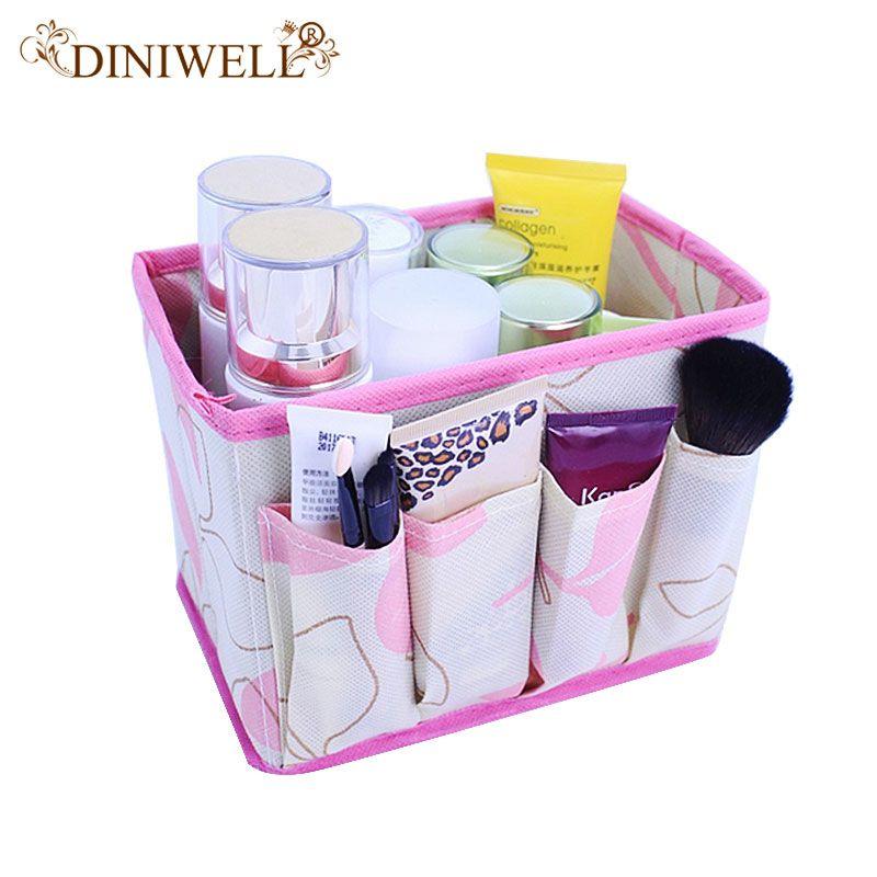 DINIWELL Große Kapazität Faltbare Bilden Kosmetik Aufbewahrungsbox Behälterbeutel Kommode Desktop Kosmetik Make-Up Veranstalter