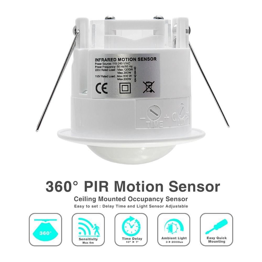Haute qualité 360 degrés plafond 110 v/AC 220 v/AC inlay capteur interrupteur PIR infrarouge motion capteur lumière lampe commutateur (1 pc ET041)