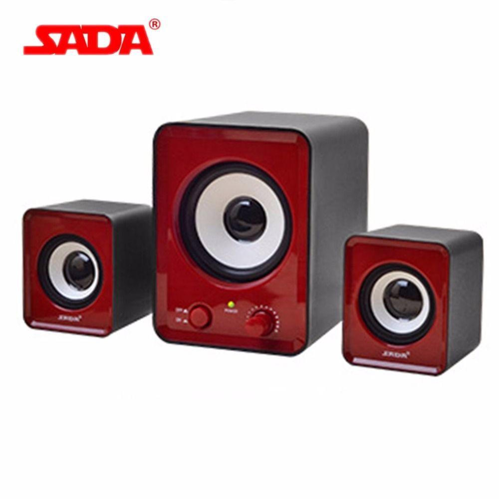 SADA Mini Portable Bass Combination speaker Stereo Desktop PC Laptop Mobile Phone Speaker 3.5mm Audio Computer Speakers