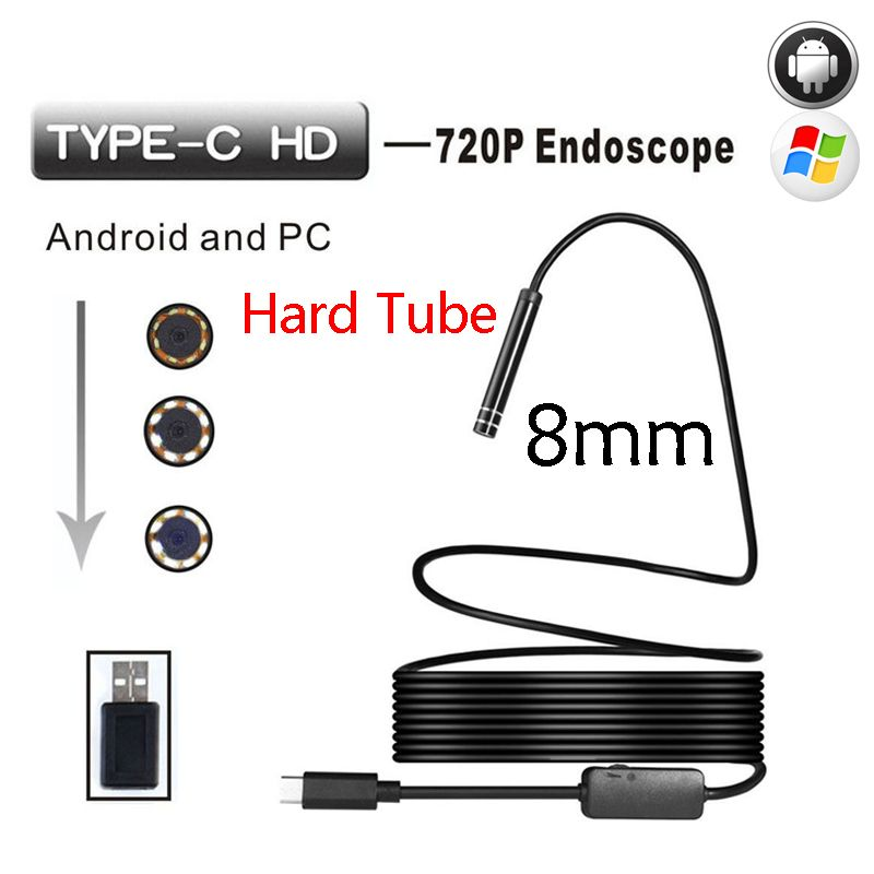 Wistino Type-c Endoscop Android USB 8mm Hard Cable Camera <font><b>Inspection</b></font> Camera PC Android Phone Borescope Pipe Camera Endoscope