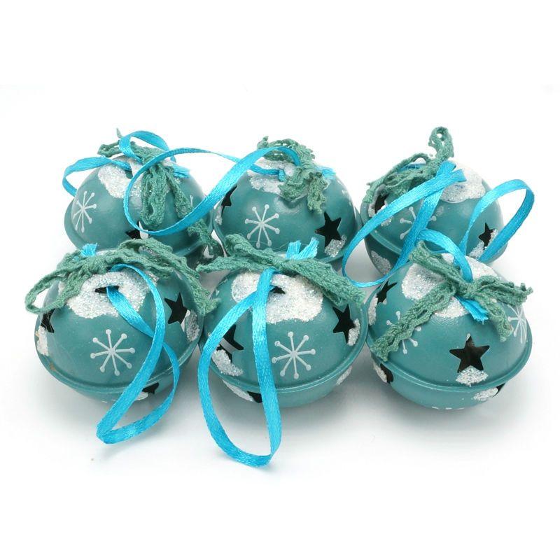 Décoration de noël 6 pièces en métal bleu brillant Jingle Cloches 50mm pour la maison, cadeau De Noël décorations d'arbre De Noël