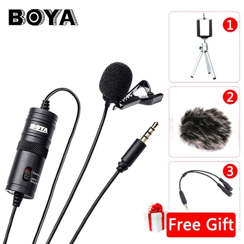 BOYA BY-M1 <font><b>Label</b></font> Lavalier Microphone 6M Boya 3.5mm Condenser Mic for Smartphones Dslr/Recorder/Camcorders/Free Windshield