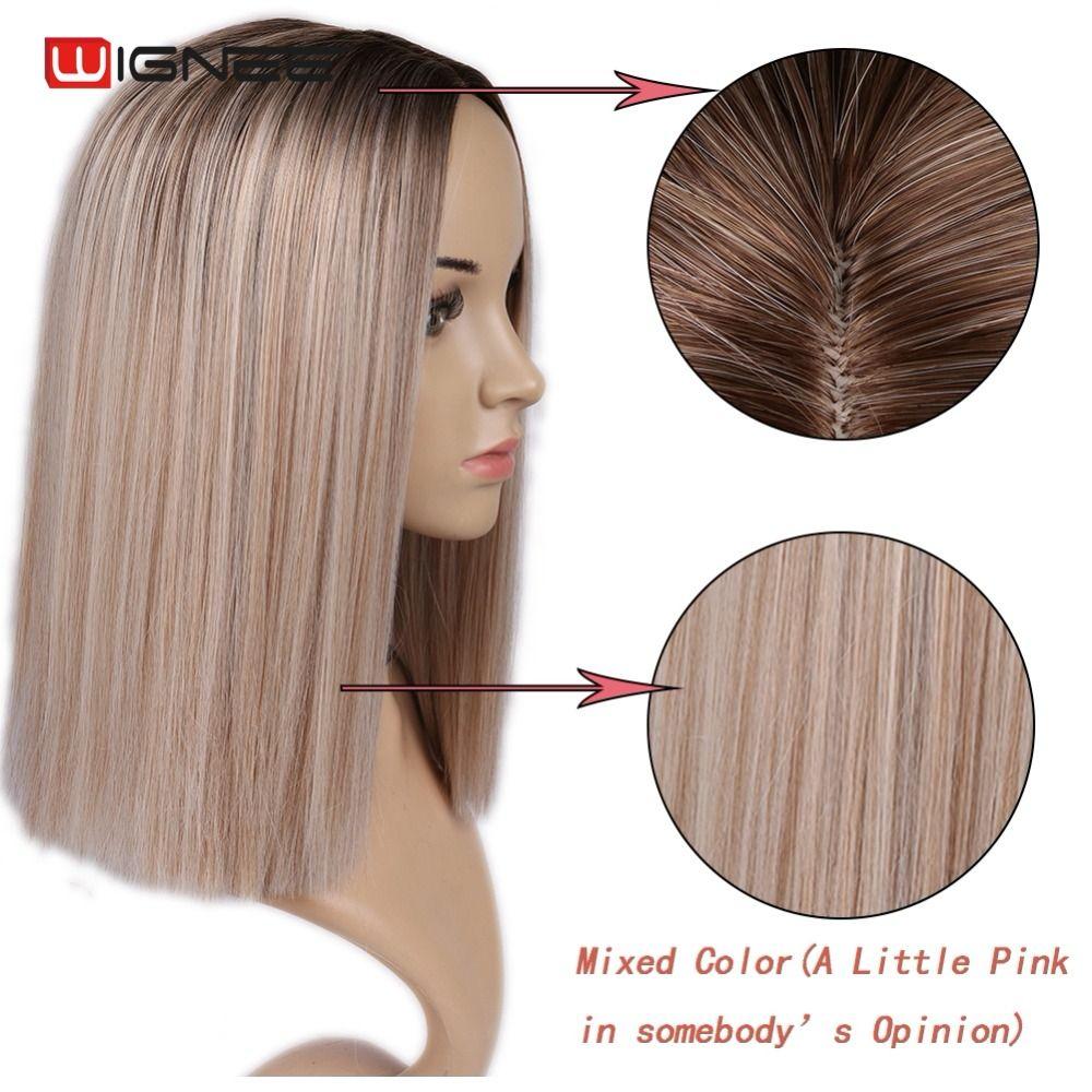 Wignee 2 Ton Ombre Brown Ash Blonde Synthetische Perücke für Frauen Mittleren Teil Kurze Gerade Haar Hohe Temperatur Cosplay Haar perücken