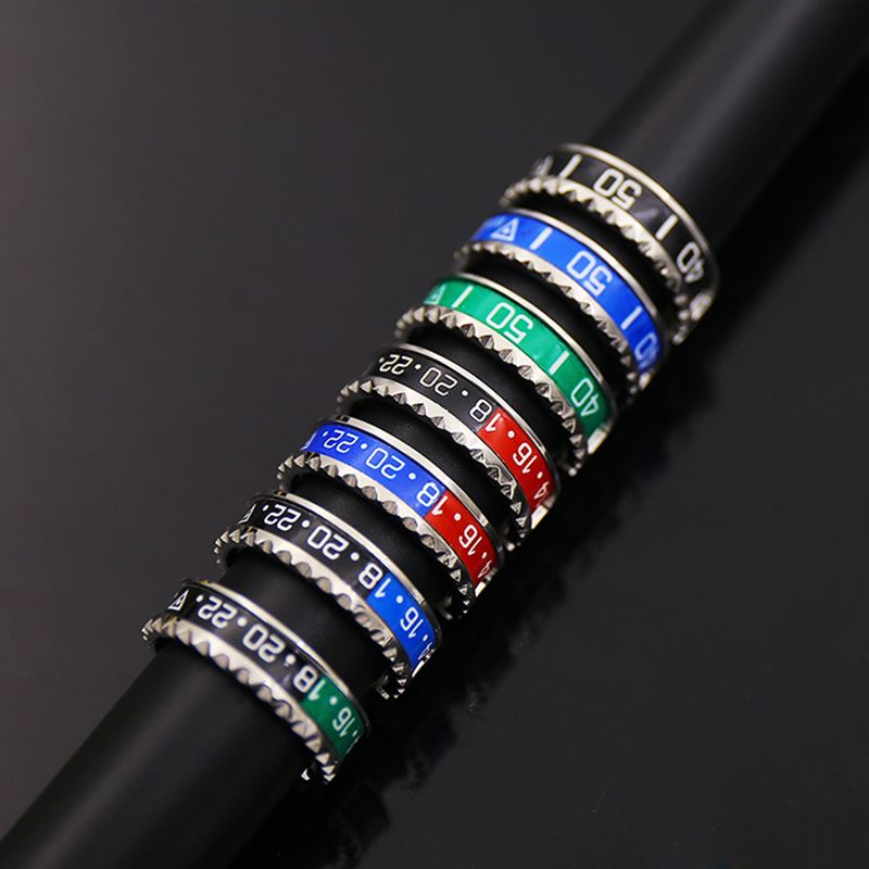 Style italien Nouveaux Bijoux 316L manchette En Acier Inoxydable Compteur De Vitesse Officiel Anneau 36 couleur