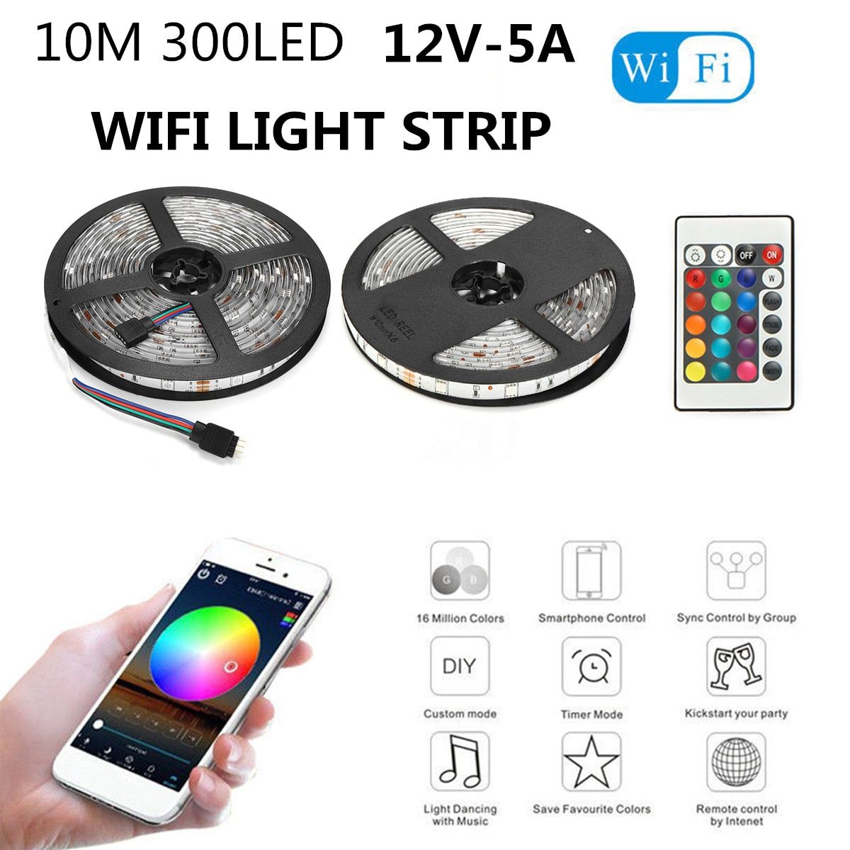 Smuxi 10M Waterproof Smart Wifi 5050 RGB 300 LED Strip Lights for Alexa Google 100000 Hours Completely Smooth Ultra-bright