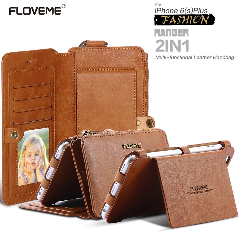 FLOVEME Retro Wallet Case For iPhone 6 6S 7 PU <font><b>Leather</b></font> Cover Zipper Handbag Card Holder Phone Case For iPhone 6 7 Plus Cases Bag