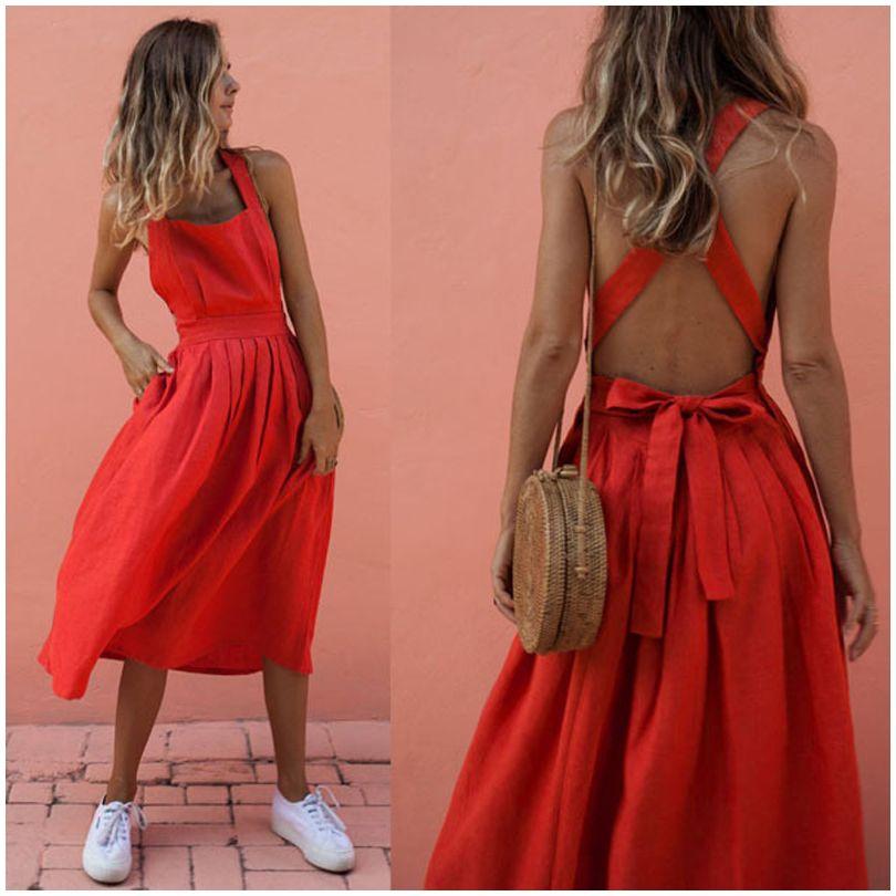CROPKOP 2019 Summer Women Dresses Sexy Backless Sleeveless Long Red Dresses Fashion Slim Evening Party Beach Sundress Vestidos