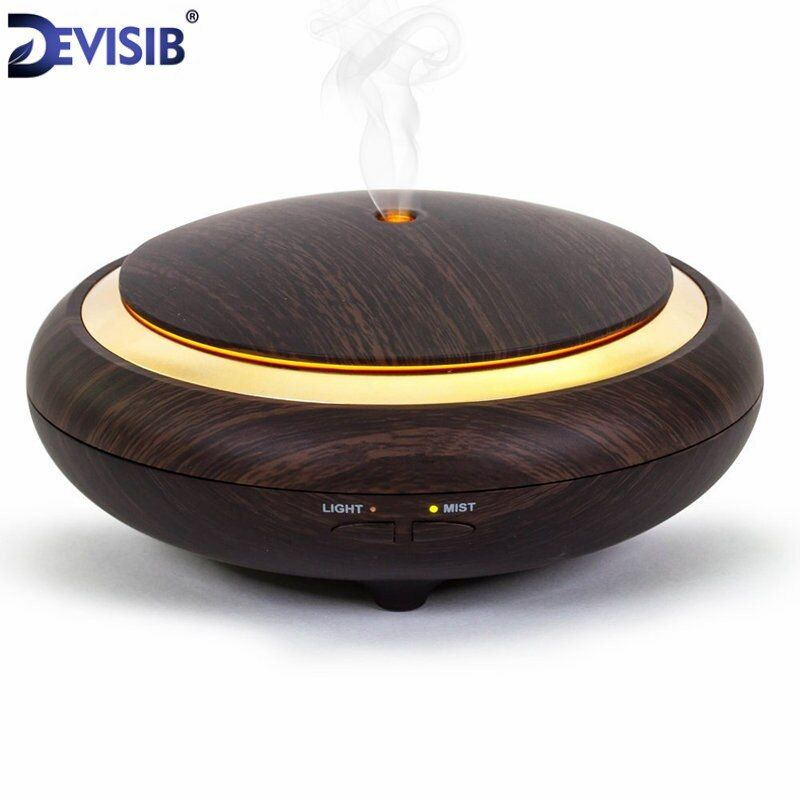 DEVISIB UFO Essential Oil Diffuser Wood Grain 150ml Ultrasonic Aroma Cool Mist Humidifier forOffice Bedroom Baby Room Study Yoga