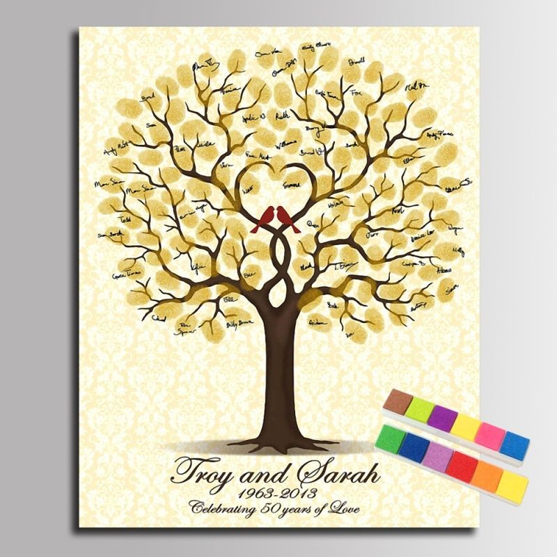 Wedding Guest Book Personalized Wedding Fingerprint Tree DIY Party Decoration Accessories Marriage Memory Book Party Attendance