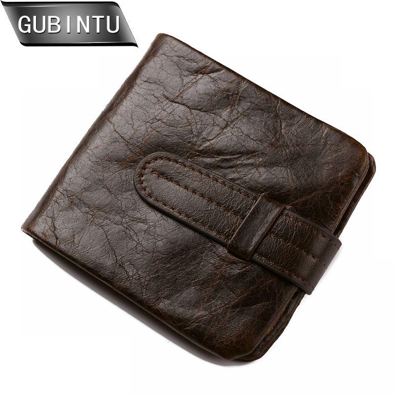 GUBINTU portefeuille Vintage en cuir véritable hommes court à deux volets portefeuilles porte-carte porte-monnaie poche de monnaie homme sac à main avec fermeture éclair