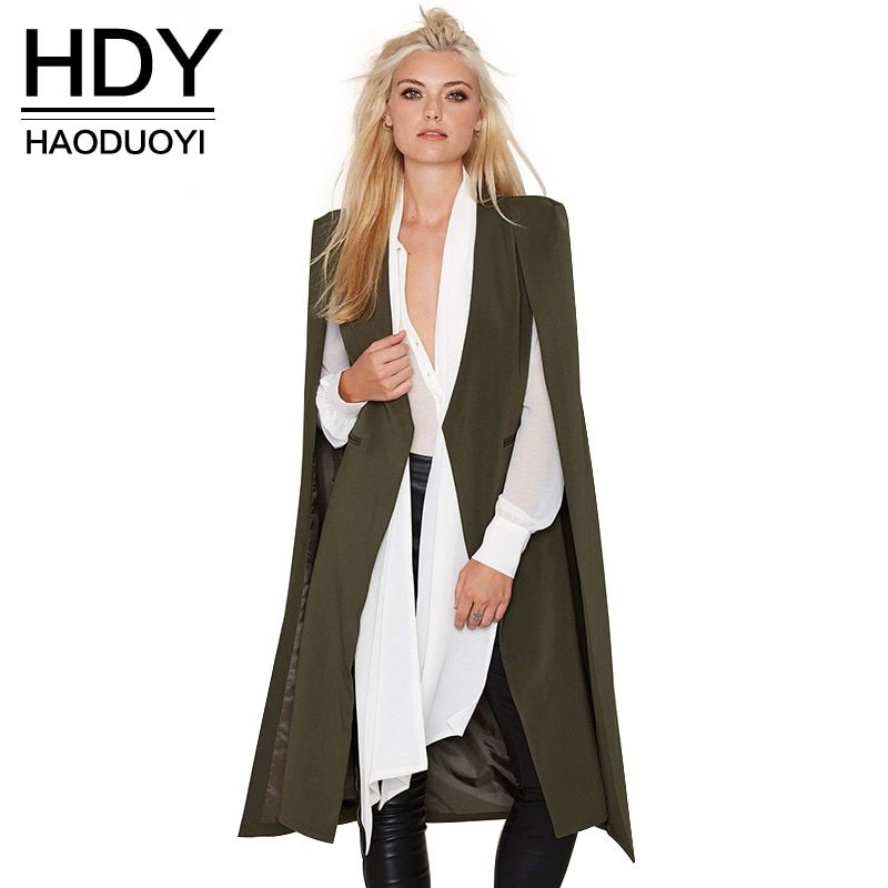 HDY Haoduoyi 2018 Women Casual Open Front Windbreaker Cloak Split Lightweight Trench Coat Longline Cape Party Blazer