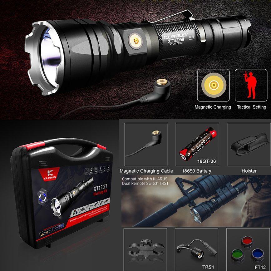 1Set KLARUS XT12GT 1600 Lumen LED Taschenlampe CREE LED XHP35 HALLO D4 Wasserdichte Taktische Taschenlampe with18650 Batterie RTS1 FT12