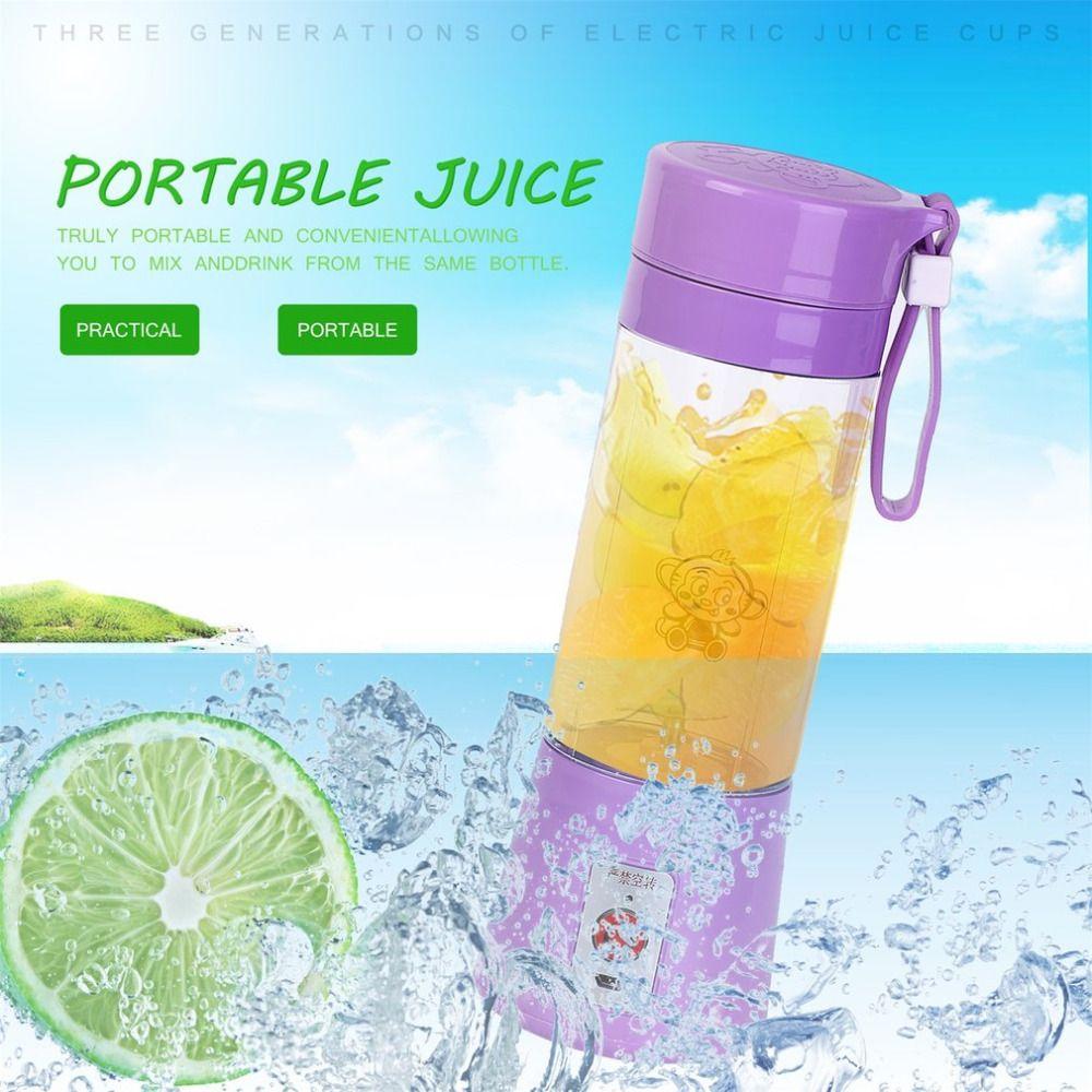Portable 380ml USB Rechargeable Electric Fruit Juicer Handheld Smoothie Maker Blender Mini Juice Squezers Water Bottle Drinkware