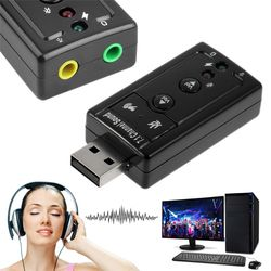 Mini External USB 2.0 Sound Card 7.1 Channel 3D Audio Adapter Converter + 3.5mm Earphone MIC Interface for PC Computer