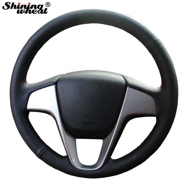 Shining wheat Hand-stitched Black Leather Steering Wheel Cover for Hyundai Solaris Verna I20 Accent