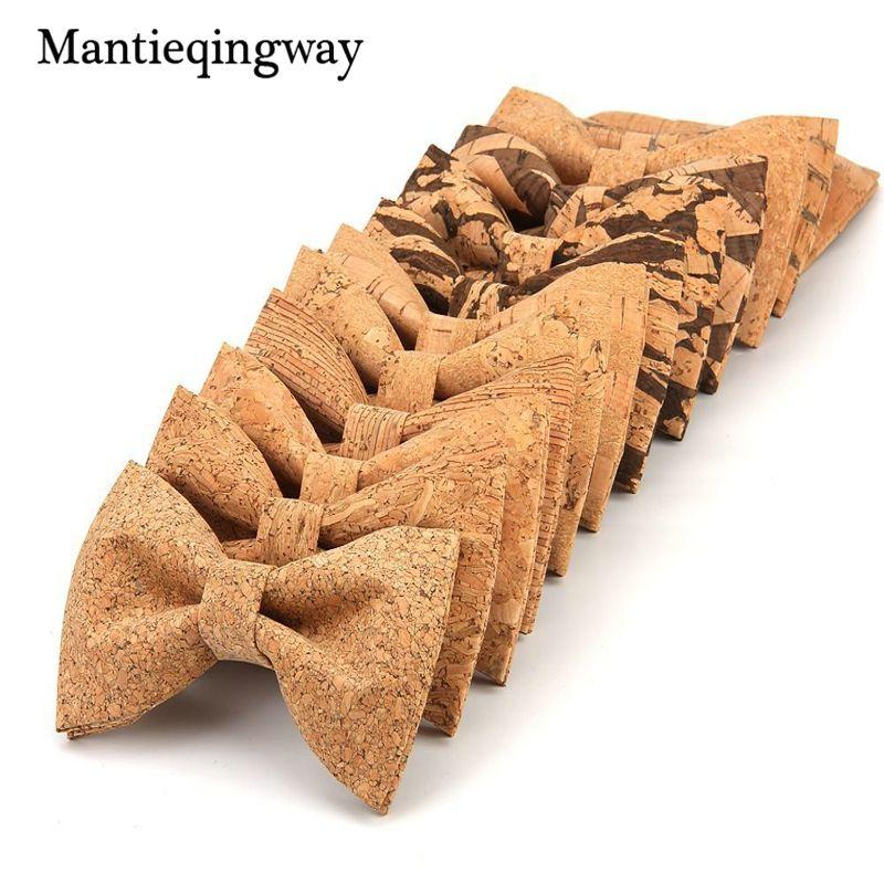 Mantieqingway Personality Corkwood Bow Ties For Men Wedding Neckwear Accessories Novelty Handmade Solid Good Wood Bowtie Cravat