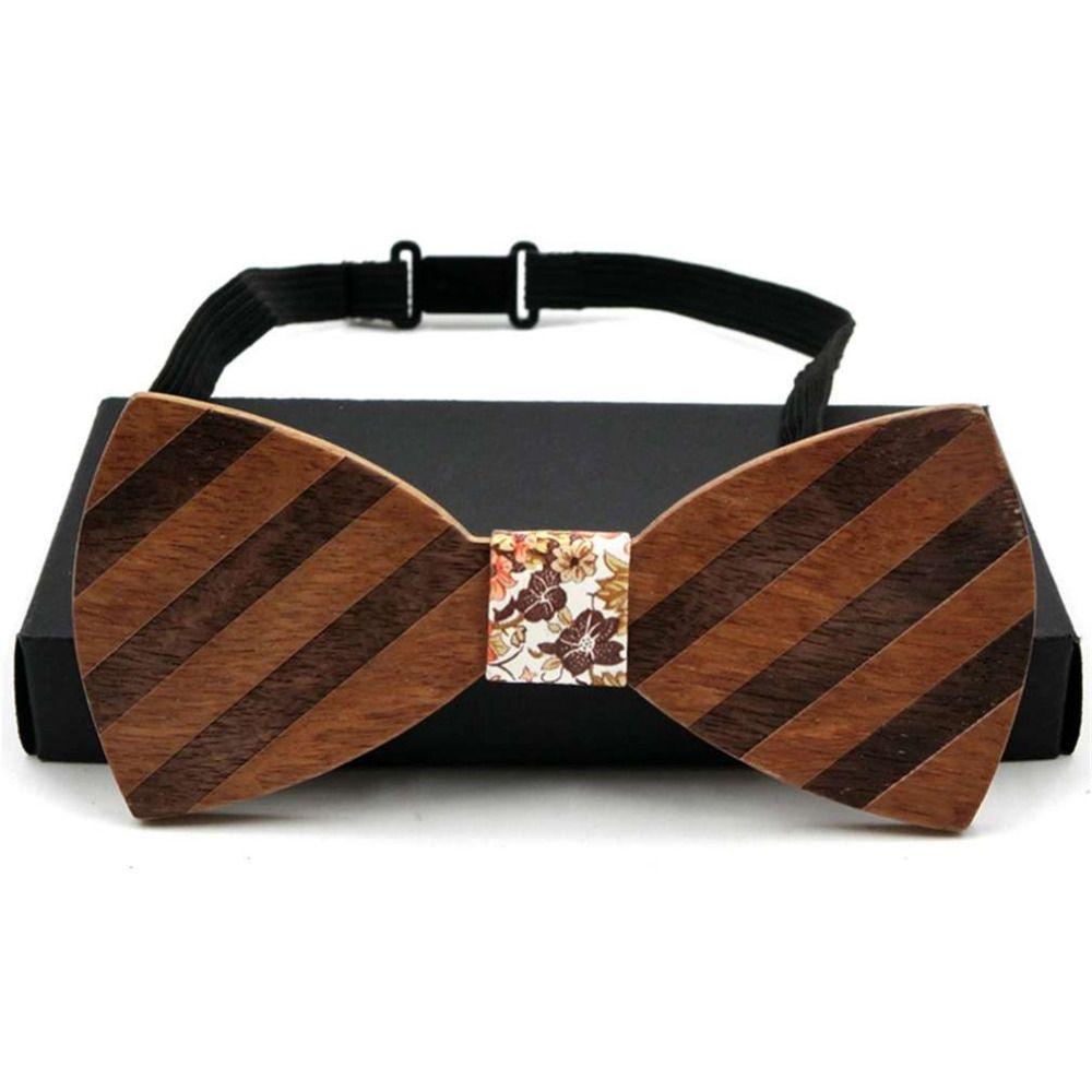 Persönlichkeit Holz Fliege Handmade Retro Streifen Stil Männer Frauen Holz Bowtie Vintage Holz Geometrische Schmetterling Design holz krawatte