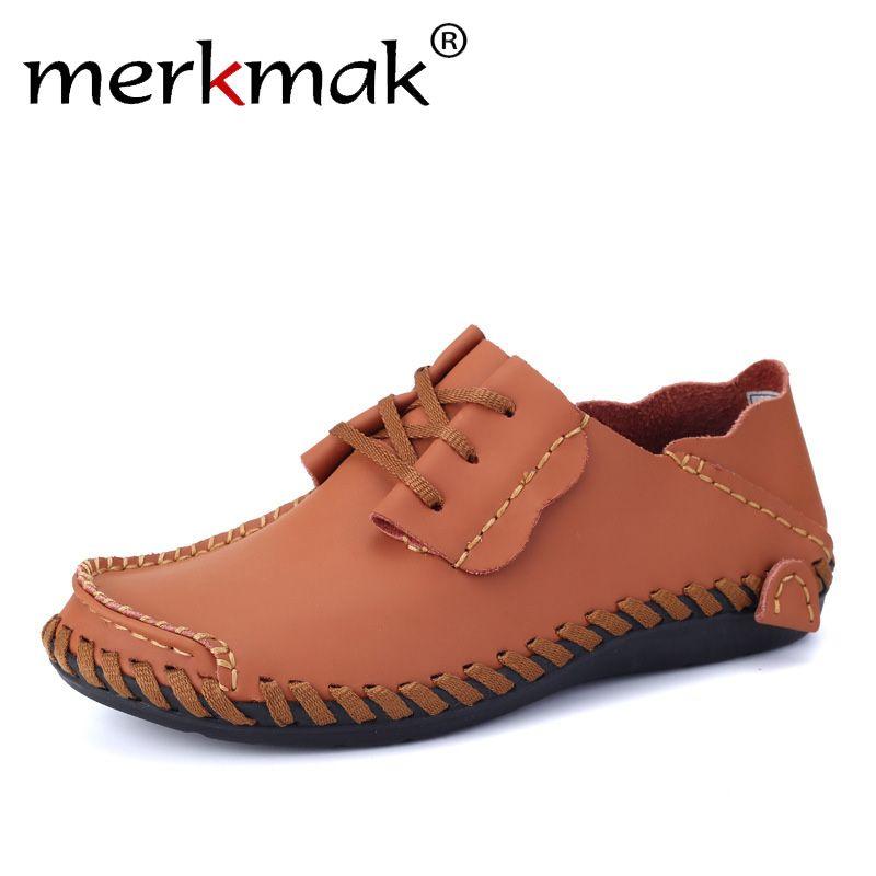 Merkmak Men Leather Shoes Casual 2018 Autumn Fashion Shoes For Men Designer Shoes Casual Breathable Big Size Mens Shoes Comfort