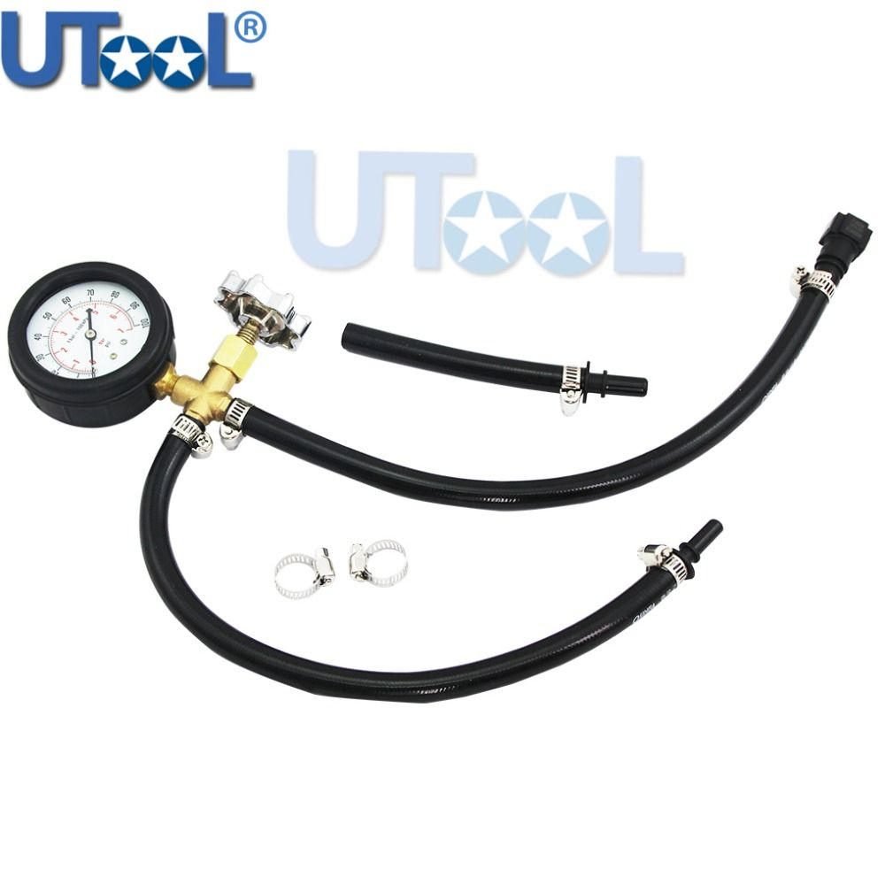 UTOOL Quick Connected Fuel Injection Pump Pressure Tester Gauge With Valve 0~100PSI