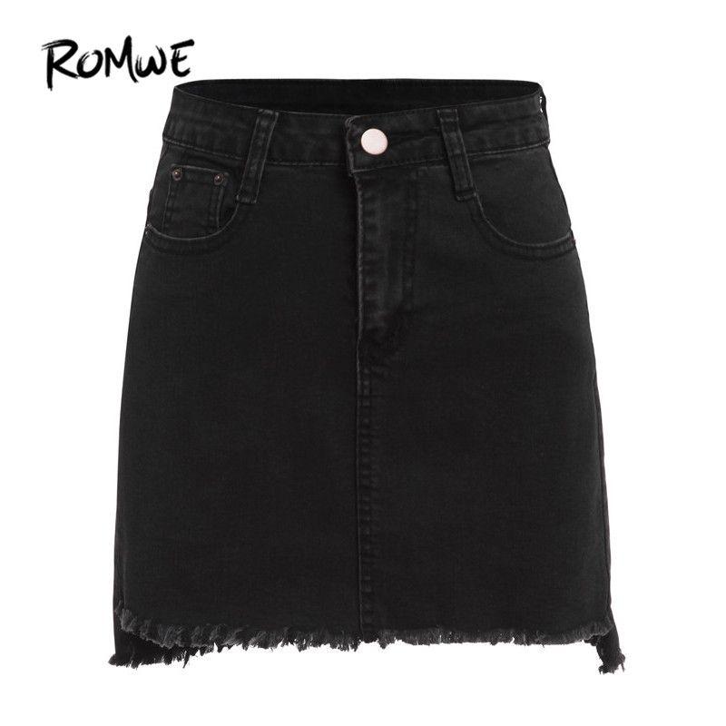 ROMWE Automne Mini Jupes Casual Jupes Pour Femmes Plaine Noir Avec Poches Dessus Du Genou Denim Moulante Jupe