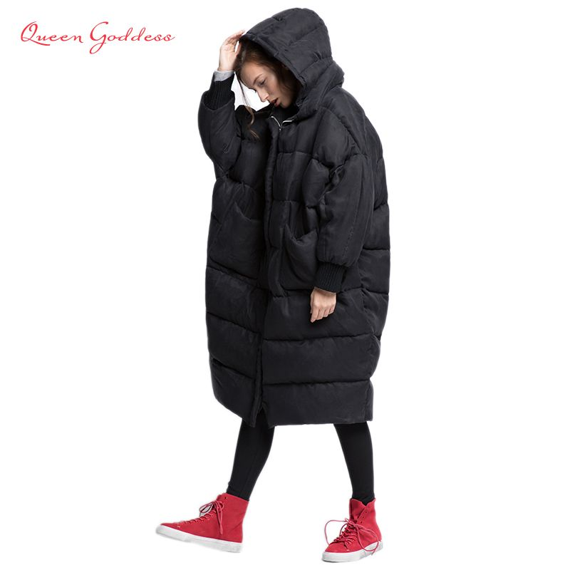 2018 bat-wing sleeve loose and thicken style winter womens down jacket 100% High-end fabric cuprammonuium elegant lady collect