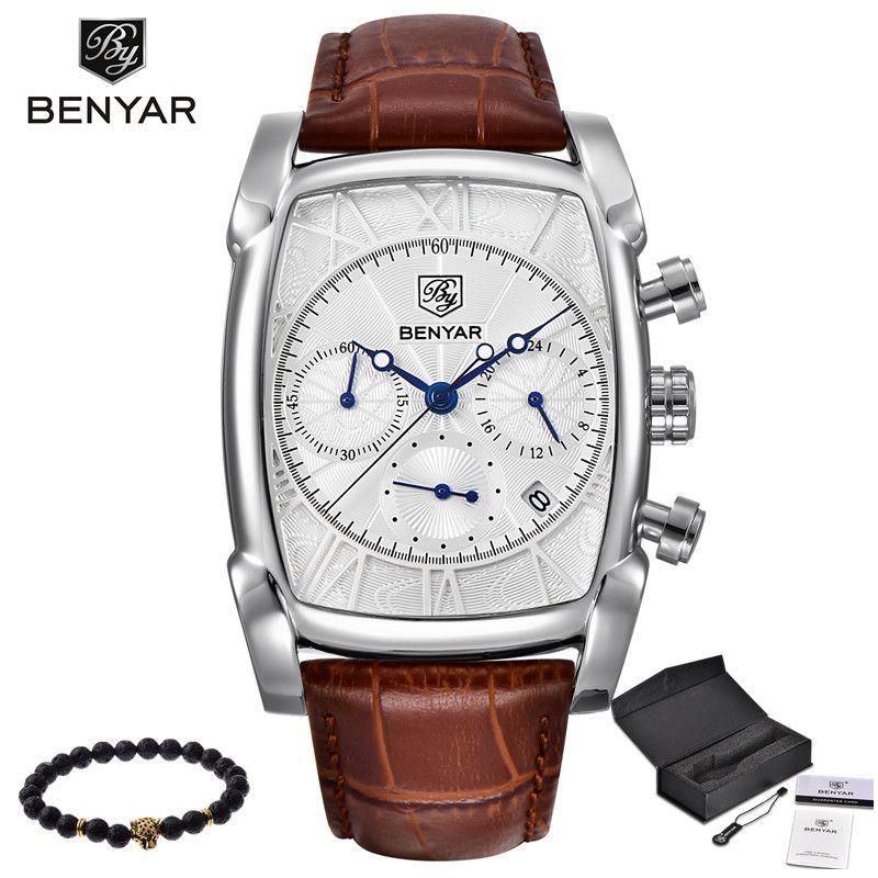 BENYAR Sports Military Men Watches 2017 Top Luxury Brand Man Chronograph Quartz-watch Leather Army Male Clock Relogio Masculino