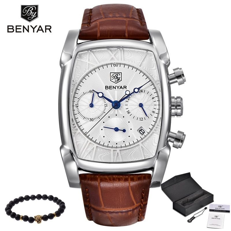 BENYAR Sports Military Men Watches 2017 Top Luxury Brand Man Chronograph Quartz-watch Leather <font><b>Army</b></font> Male Clock Relogio Masculino