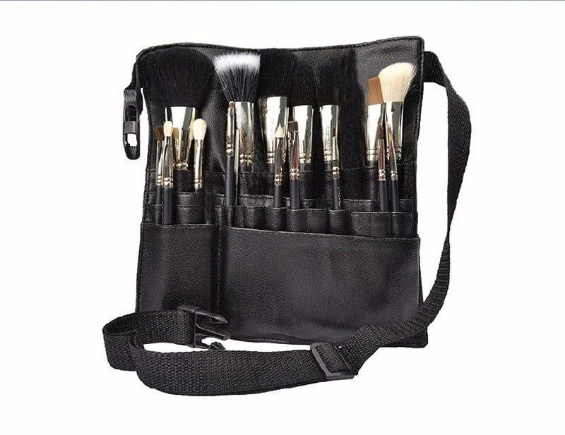 Professional Cosmetic Makeup Brush PVC Apron Bag Artist Belt Strap Portable Make up Bag Holder (Brushes not included)