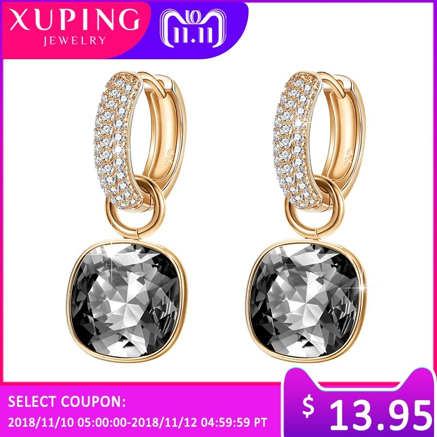 11.11 Deals Xuping Luxury Earrings Exquisite Hot Sell Crystals from Swarovski Color Plated Wedding Earring for Women Party Gift