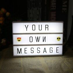 BRICOLAGE Lettre Lumière A4 A6 Combinaison LED Boîte à Lumière Nuit Lampe de nuit NOIR Cartes USB LED Ampoules Décoration Festive Message conseil