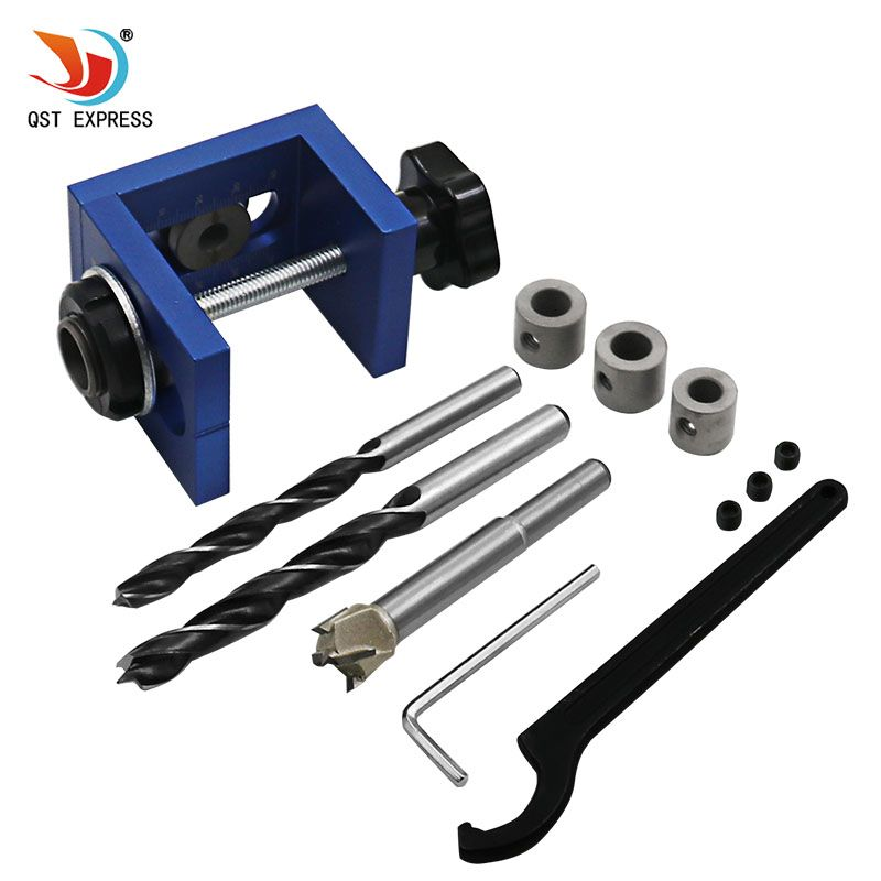 Woodworking Pocket Hole Locate Punch Jig Kit + Step Drilling Bit Wood Tools Set